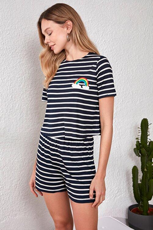 TRENDYOLMİLLA Lacivert Gökkuşağı Baskılı Örme Pijama Takımı THMSS20PT0230 2