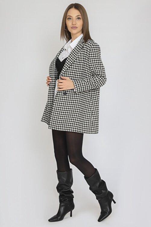 TARZIM BUTİK Kadın Mono Yaka Astarsız Dört Düğme Cep Kapağı Detay Uzun Casual Ceket 2