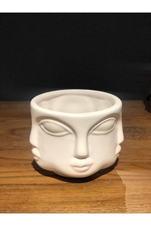 LAMEDORE Havelka Buddha Suratlı Beyaz Dekoratif Küçük Boy Vazo 2