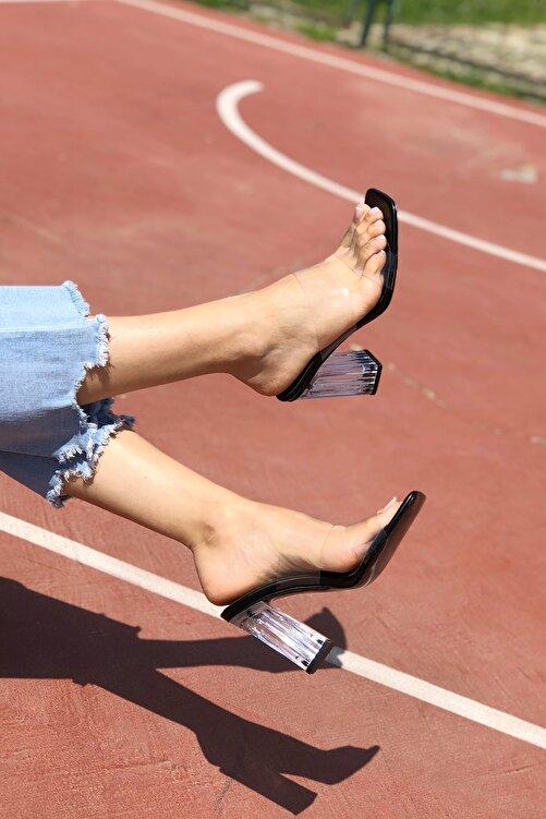Ayakkabı Ateşi Kadın Siyah Cilt Şeffaf Topuklu Terlik 2