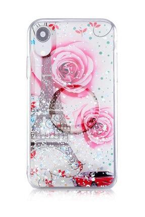 Dijimedia Teknomarketim Iphone Xr Kılıf  Pop Soketli Yüzüklü Standlı Silikon Baskılı Gül Desenli Paris 0