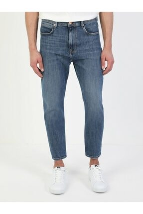 039 Lucas Carrot Fit Düşük Ağ Carrot Leg Erkek Indigo Jean Pantolon resmi