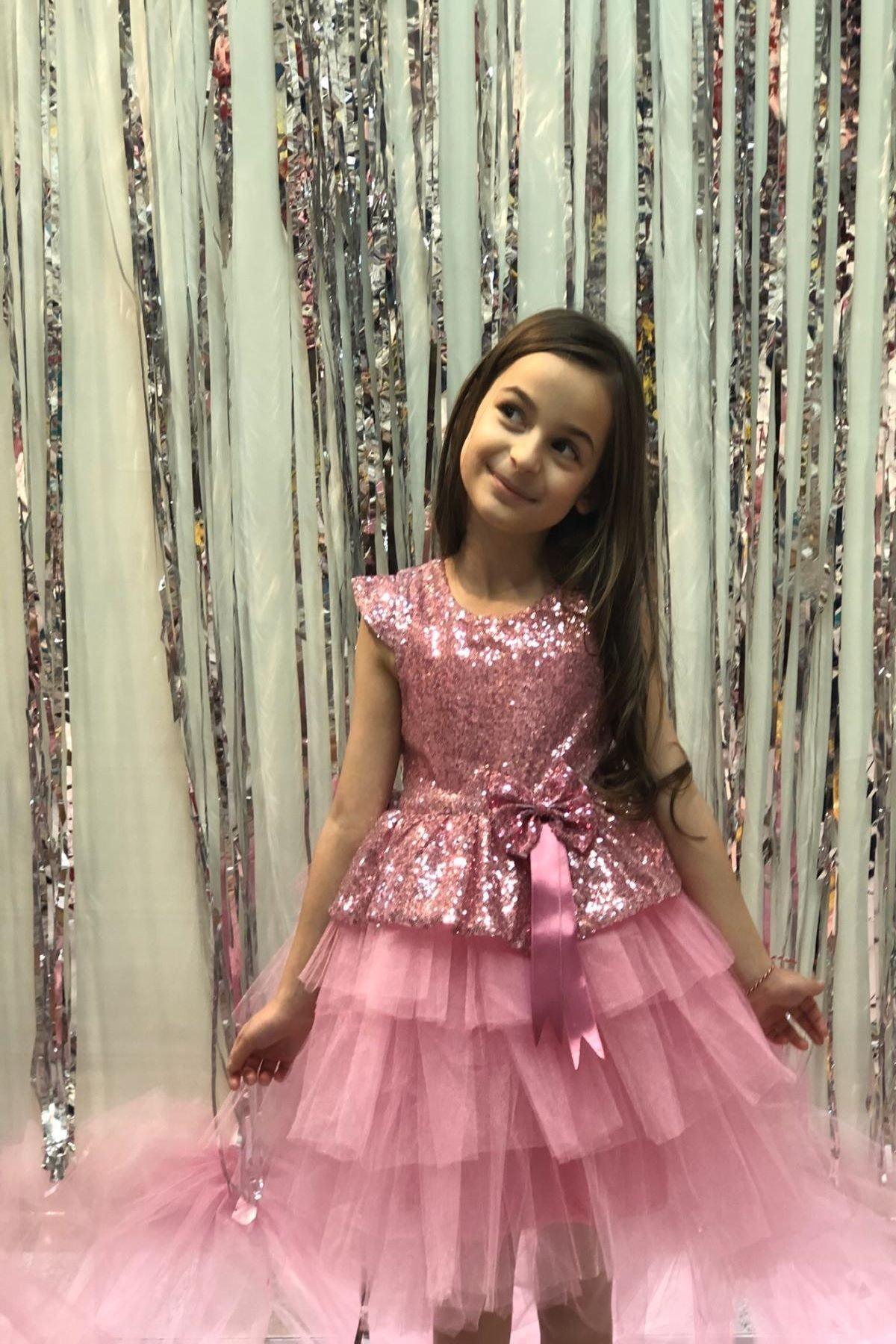 Buse&Eylül Bebe Pembe Pullu Prenses Elbise 0