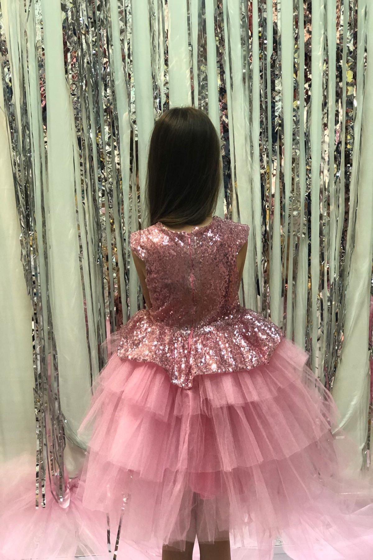 Buse&Eylül Bebe Pembe Pullu Prenses Elbise 1