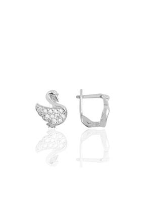 Söğütlü Silver Gümüş Rodyumlu Taşlı Kuğu Küpe SGTL10164RODAJ 0