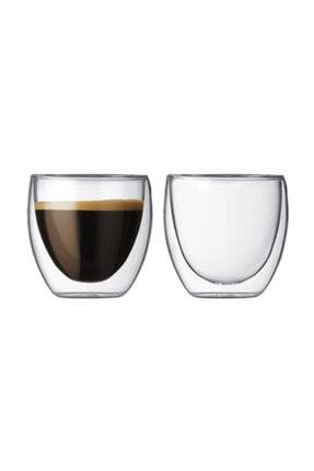 TROY Çift Cidarlı Bardak Double Wall Glass Espresso Bardağı 2'li Set 80 ml 2,7 Oz 0