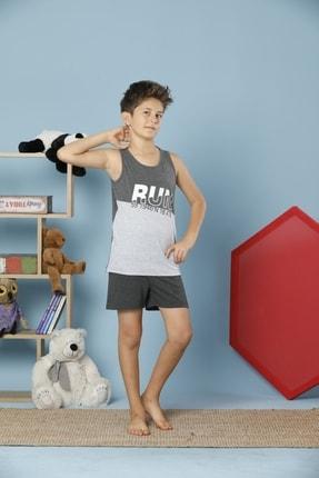 Picture of Erkek Çocuk Antrasit Geniş Askılı Pamuklu Likralı Şort Takım