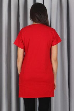 AlpinTeks Kadın Kırmızı Yırtmaçlı Bisiklet Yaka T-shirt 3