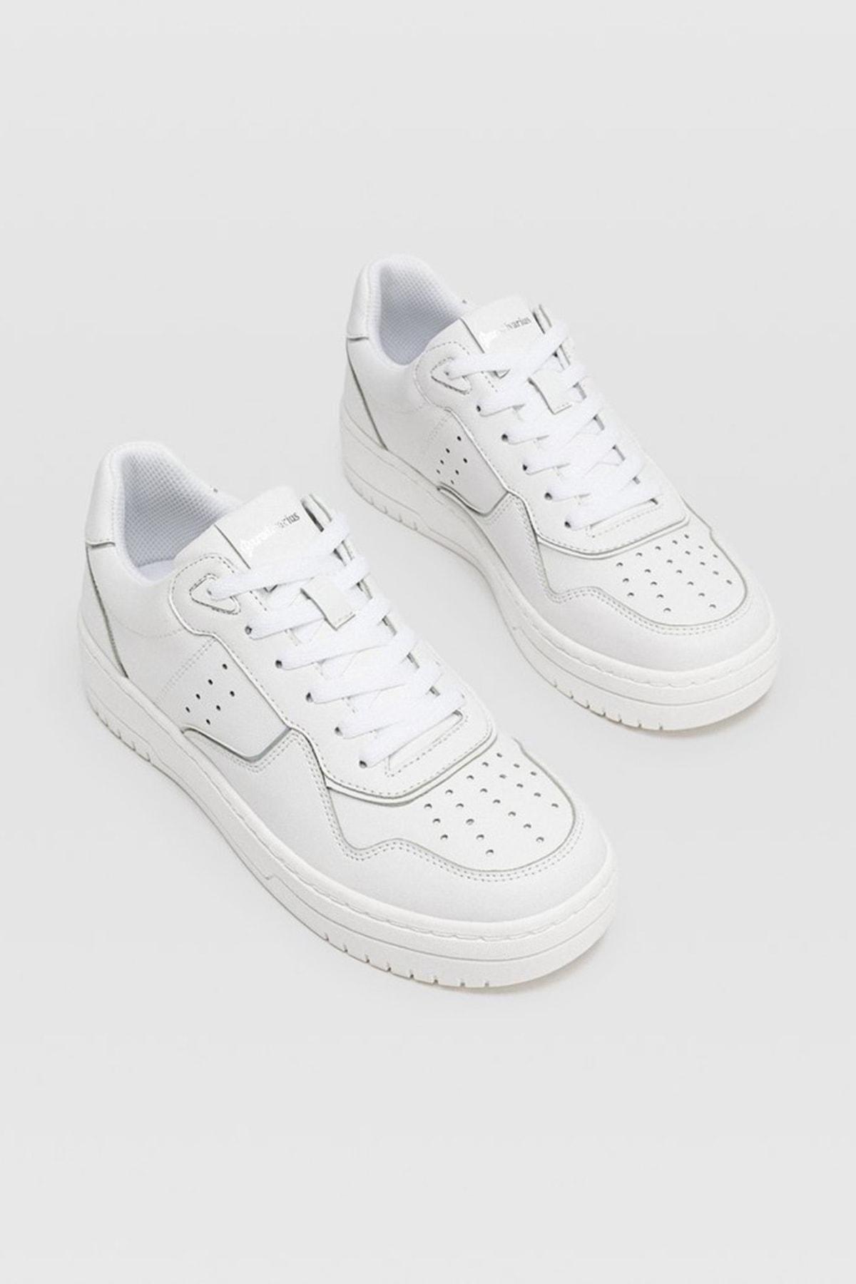Stradivarius Kadın Beyaz Şeritli Spor Ayakkabı 19002570 1