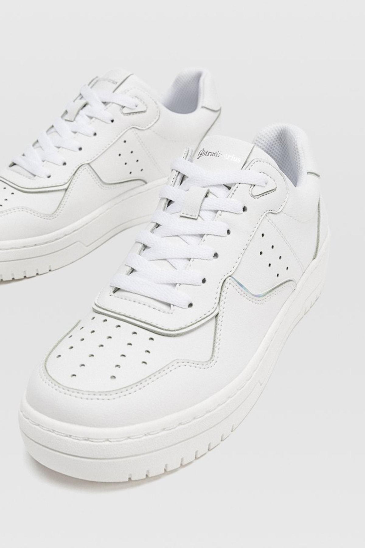 Stradivarius Kadın Beyaz Şeritli Spor Ayakkabı 19002570 3