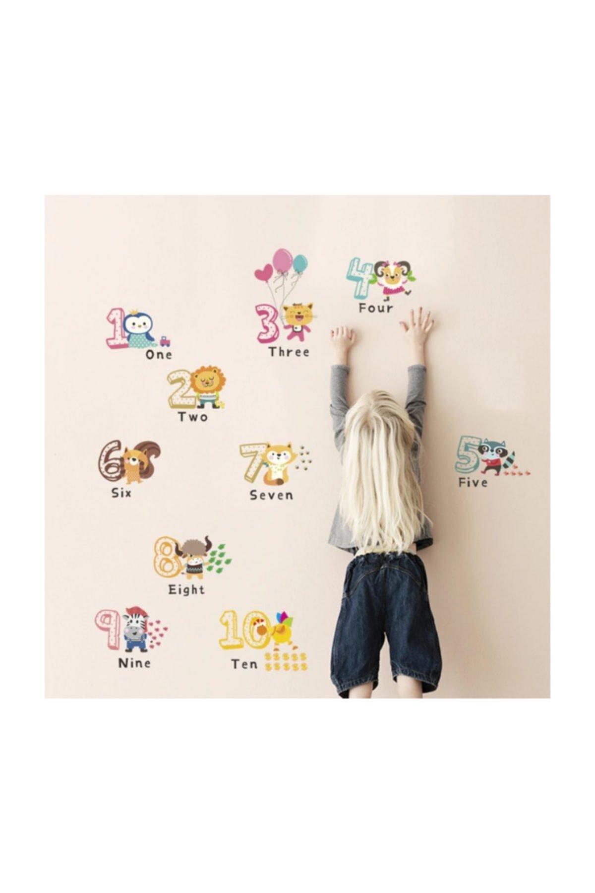 Çocuk Ve Bebek Odasi Sevimli Hayvanlar Sayı Ingilizce Matematik Eğitim Gelişim Duvar Dekor Sticker