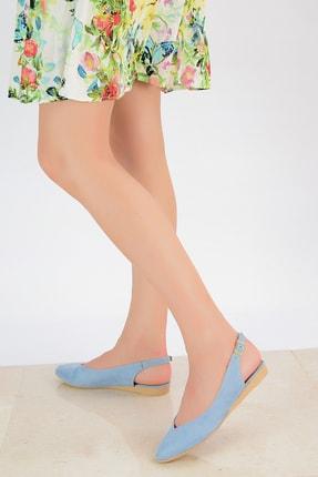 Shoes Time Mavi Süet Kadın Sandalet 20Y 900 1