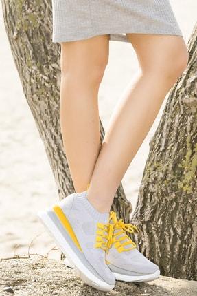Ewoll Red2 Gri Yüksek Tabanlı Kadın Spor Ayakkabı 3