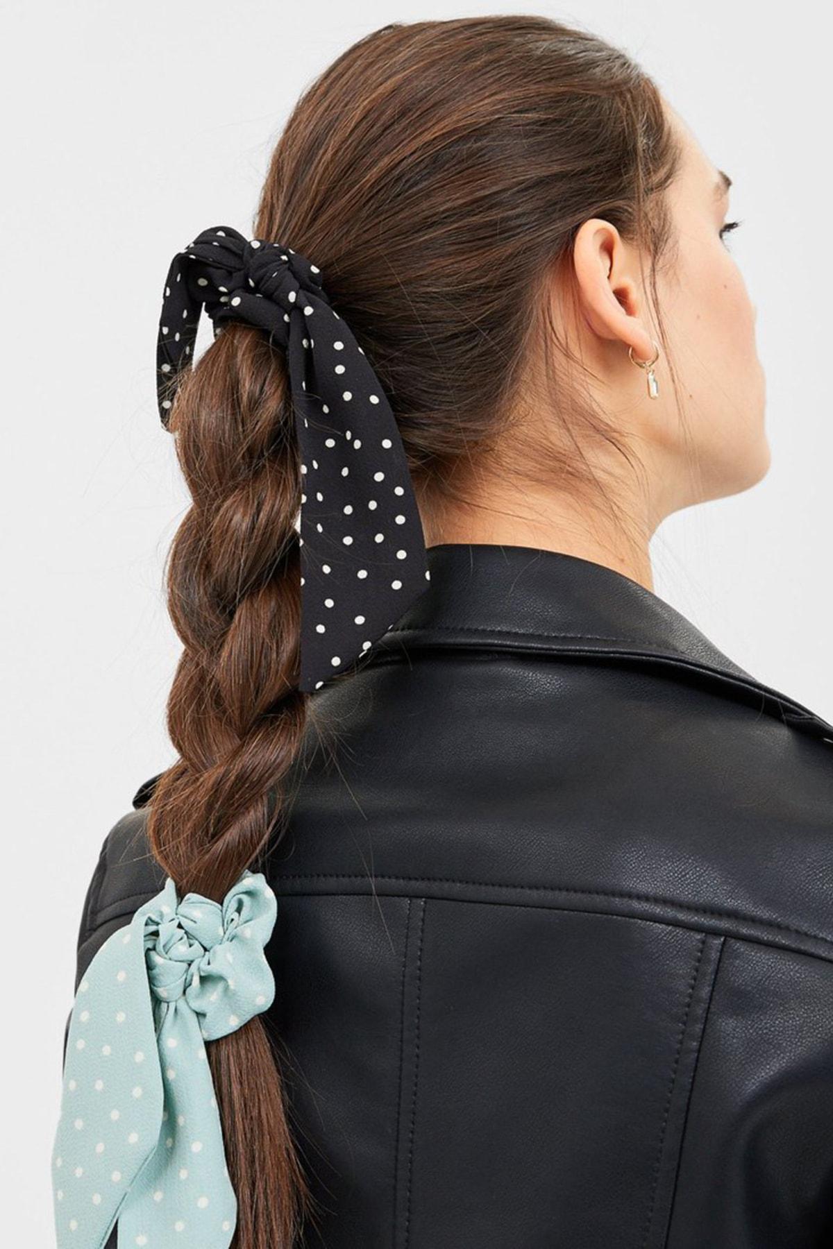 Stradivarius Kadın Siyah 3'Lü Puantiye Desenli, Fiyonklu Saç Lastiği Paketi 00220009 1