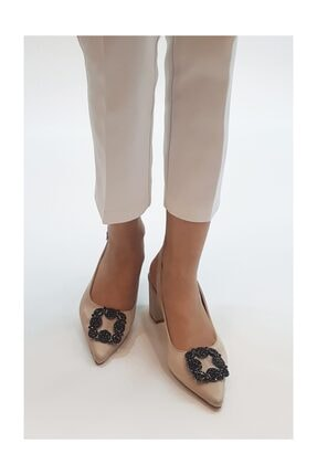 sothe shoes Bej Saten Bayan Tokalı Topuklu Ayakkabı Stiletto Kalın Kısa Topuk Kadın Ayakkabı 2