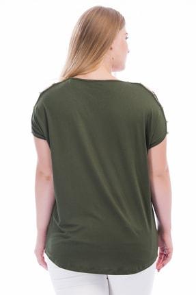 Şans Kadın Haki Omuz Dekolteli İnci Detaylı Viskon Bluz 65N15453 1