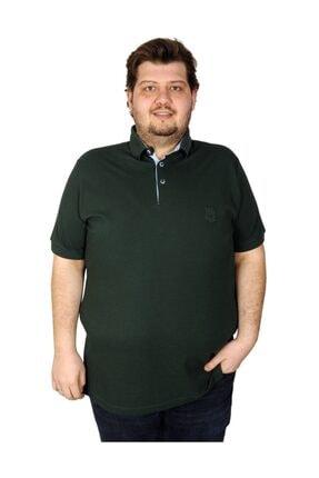 ModeXL Tshirt Polo Yaka Nakışlı Klasik Pike 20553 Nefti 0