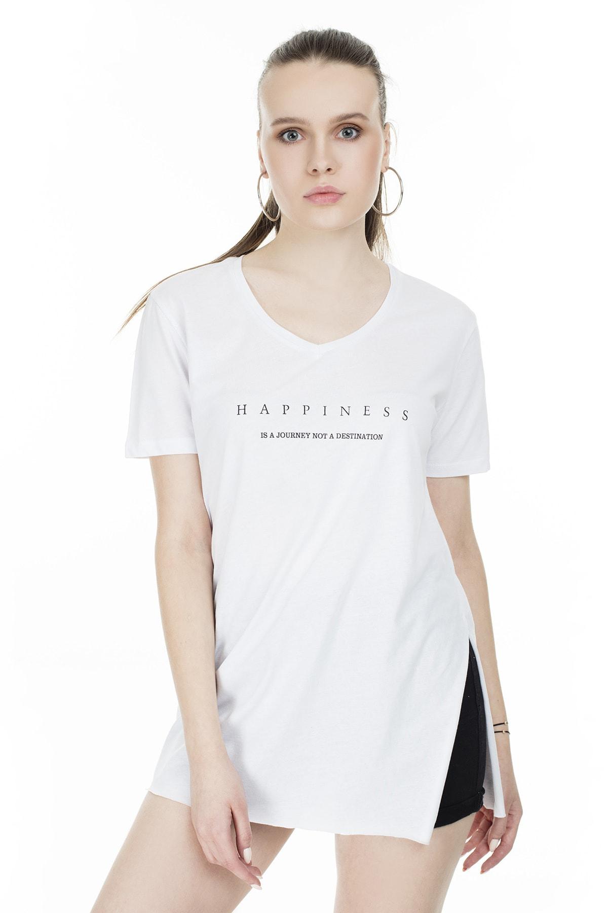 Lela Yırtmaç Detaylı V Yaka T Shirt KADIN T SHİRT 5411062H 0