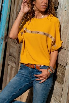 Güneşkızı Kadın Hardal Hasır Düğme Detaylı Salaş Bluz GK-BST2851 0