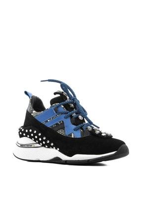 İlvi Gerrax Kadın Spor Ayakkabı Siyah Süet - Mavi Deri Gerrax-3133.0049 0