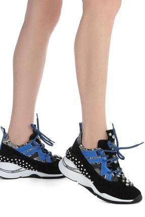 İlvi Gerrax Kadın Spor Ayakkabı Siyah Süet - Mavi Deri Gerrax-3133.0049 1