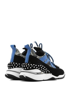 İlvi Gerrax Kadın Spor Ayakkabı Siyah Süet - Mavi Deri Gerrax-3133.0049 3