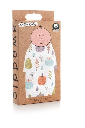 Caline Baby Müslin Bezi Örtü Bal Kabağı Desen - Yeşil 120x120 Cm + 4 Adet Ağız Mendili 1