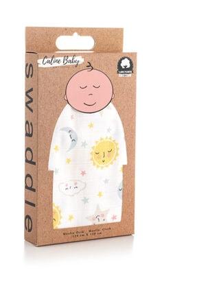 Caline Baby Müslin Bezi Örtü Güneş Desen - Sarı 120x120 Cm 4 Adet Ağız Mendili 1