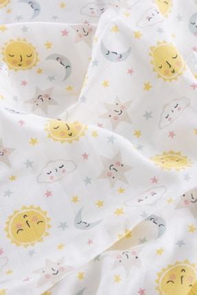 Caline Baby Müslin Bezi Örtü Güneş Desen - Sarı 120x120 Cm 4 Adet Ağız Mendili 2