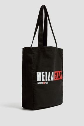 Pull & Bear Kadın Siyah Siyah La Casa De Papel X Pull&Bear Sloganlı Tote Çanta 14158540 3