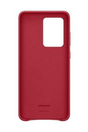Samsung Galaxy S20 Ultra Deri Kılıf Kırmızı 3