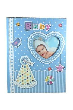 Süsle Baby Party Bebek Fotoğraf Albümü, Kalp Çerçeveli, Kutulu Ve 200 Resimlik, Mavi 2