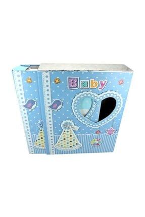 Süsle Baby Party Bebek Fotoğraf Albümü, Kalp Çerçeveli, Kutulu Ve 200 Resimlik, Mavi 3
