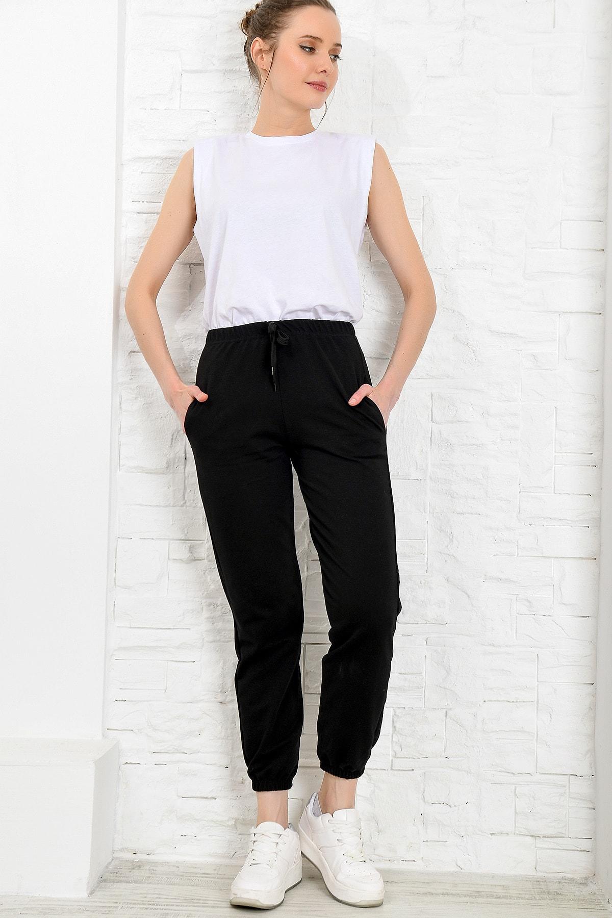 Trend Alaçatı Stili Kadın Siyah Paçası Lastikli İki İplik Eşofman Altı ALC-Y2933