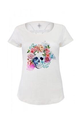 Angemiel Wear Çiçekli Kurukafa Pamuklu Beyaz Kadın Tişört 0