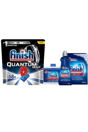 Finish Finish Quantum Max 58 Kapsül Bulaşık Makinesi Deterjanı + Temizlik ve Bakım Seti 1