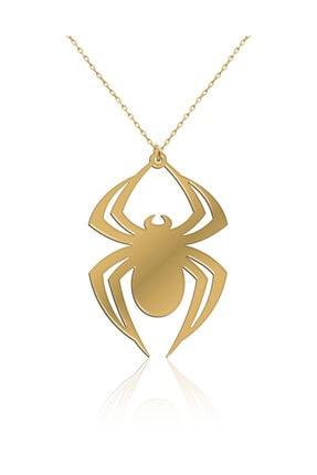 İNDİGO TAKI Sade Örümcek Altın Kaplama Gümüş Kolye 0