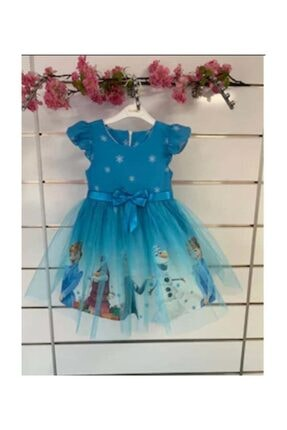 Hscbutik Frozen Elsa Kiz Cocuk Tullu Mavi Karlar Ulkesi Elbise Trendyol