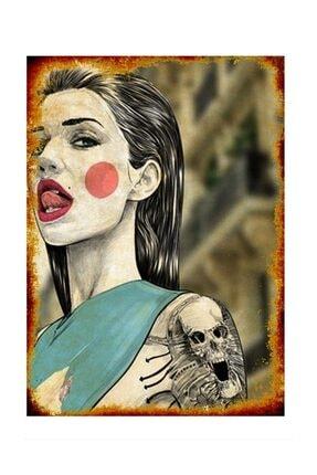 Tablomega Kırmızı Yanaklı Dövmeli Kadın Model Ahşap Tablo 0