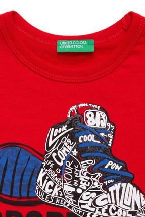 Benetton Kırmızı Çocuk Şapka Ayakkabı Baskılı Tshirt 1