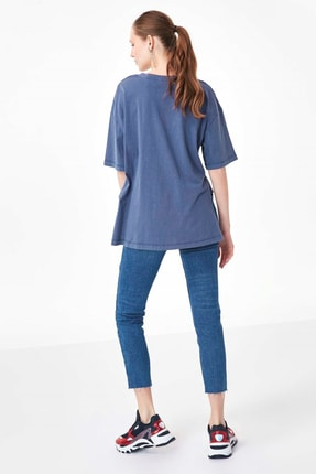 Twist Kadın Mavi Slogan Baskılı Tshirt TS1200070214089 4