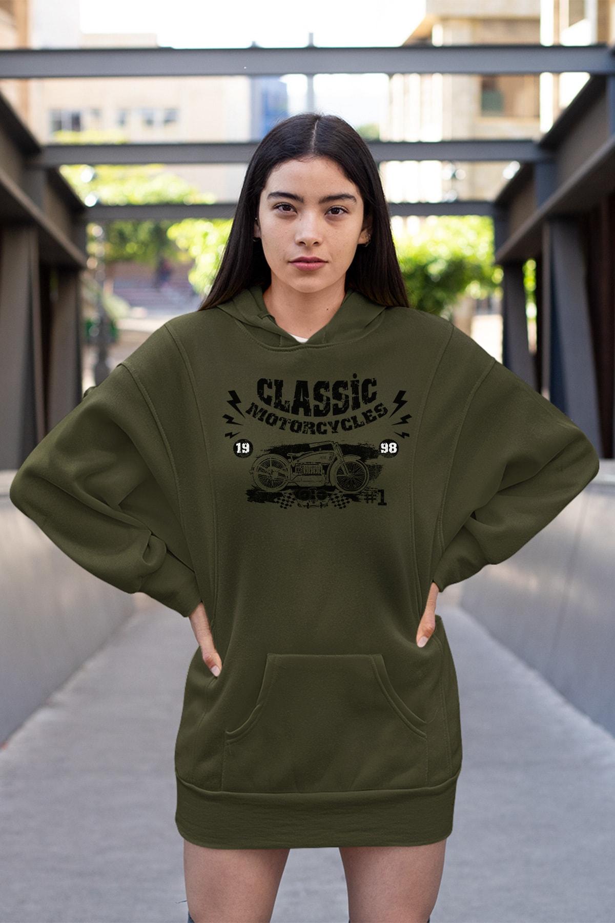 Wear Motorcycles Yeşil Elbise Sweatshirt Tunik