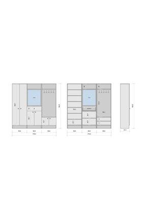 Rani Mobilya Rani P6 Modern Çekmeceli Aynalı Portmanto Ayakkabılık Vestiyer Beyaz M2 1