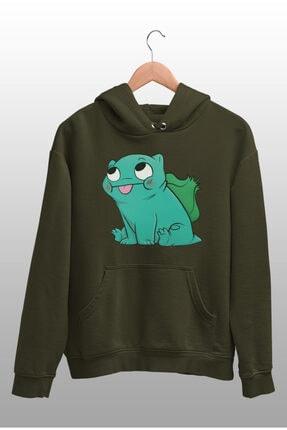 Angemiel Wear Balbazar Pokemon Yeşil Erkek Kapüşonlu Sweatshirt Çanta Kombin 0