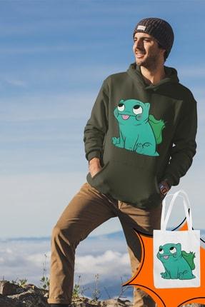 Angemiel Wear Balbazar Pokemon Yeşil Erkek Kapüşonlu Sweatshirt Çanta Kombin 2