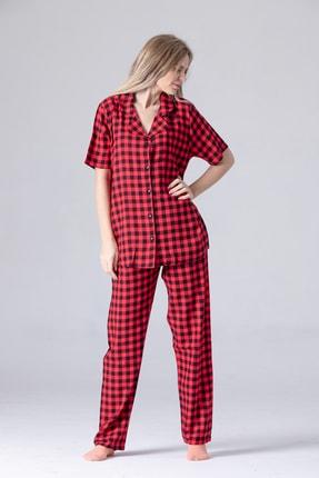 Pijama Denizi Kadın Kısa Kollu Gömlek Yaka Pijama Takımı Kare Ekose Dokuma 1