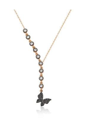 Gumush Kadın Gümüş Sıra Taşlı Kelebek Kolye PT2610701 0