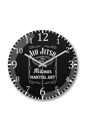 Baskı Dükkanı Jiu Jitsu Whiskey Tag Duvar Saati Bombeli Gercek Cam 0