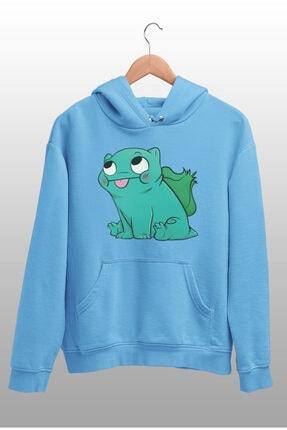 Angemiel Erkek Mavi Balbazar Pokemon Kapüşonlu Sweatshirt 1