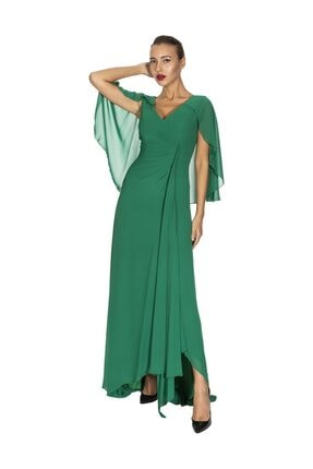 Maxra Govana 5273517 V Yaka Yarasa Kollu Uzun Şifon Elbise 0